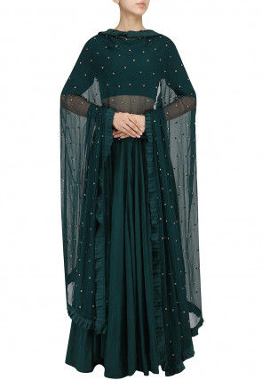Solid Color Cotton Silk Lehenga in Dark Teal Green