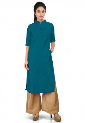 Solid Color Cotton Silk Long Kurta Set in Teal Blue