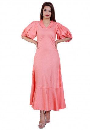 Solid Color Cotton Silk Midi Dress in Peach