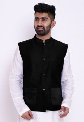 Solid Color Cotton Silk Nehru Jacket in Black