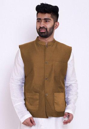Solid Color Cotton Silk Nehru Jacket in Dark Beige
