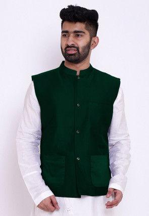Solid Color Cotton Silk Nehru Jacket in Dark Green