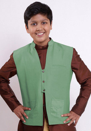 Solid Color Cotton Silk Nehru Jacket in Light Green