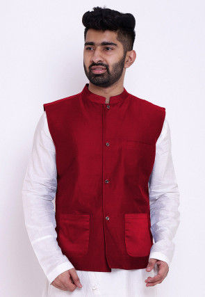 Solid Color Cotton Silk Nehru Jacket in Red