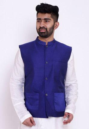 Solid Color Cotton Silk Nehru Jacket in Royal Blue