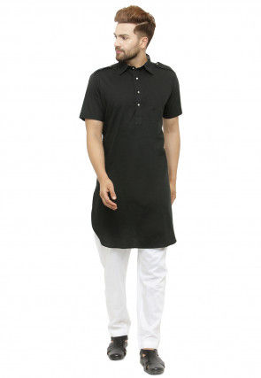 Solid Color Cotton Paithani Kurta in Black