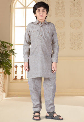Solid Color Cotton Silk Paithani Suit in Light Grey