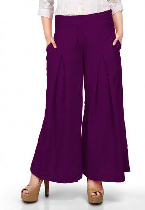Solid Color Cotton Silk Palazzo in Purple
