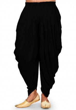 Solid Color Cotton Silk Patiala in Black