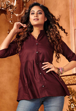 Solid Color Cotton Silk Top in Wine