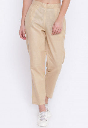 Solid Color Cotton Silk Trouser in Beige