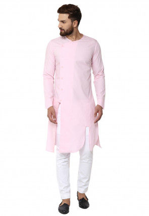 Solid Color Cotton Slitted Kurta Set in Light Pink