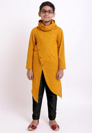 Solid Color Cotton Slub Asymmetric Kurta in Mustard