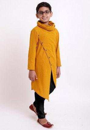 Solid Color Cotton Slub Asymmetric Kurta Set in Mustard