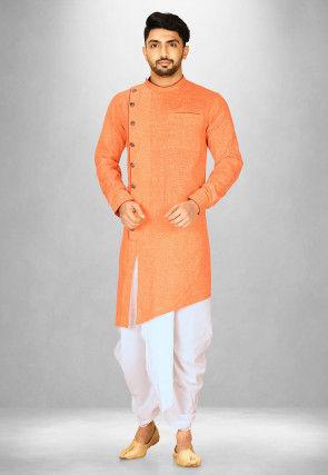 Solid Color Cotton Slub Dhoti Kurta in Orange