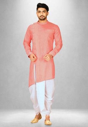 Solid Color Cotton Slub Dhoti Kurta in Peach