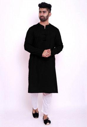 Solid Color Cotton Slub Kurta in Black