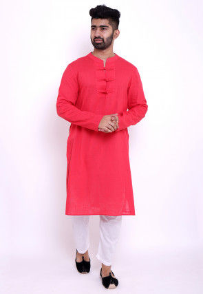 Solid Color Cotton Slub Kurta in Coral Pink