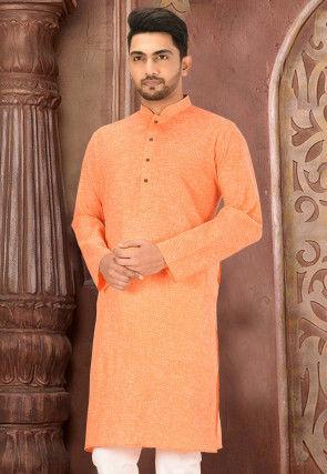 Solid Color Cotton Slub Kurta in Orange