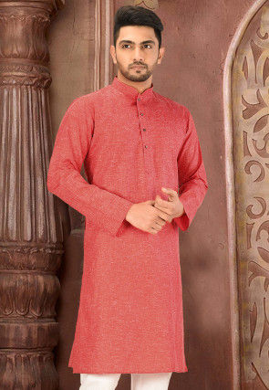 Solid Color Cotton Slub Kurta in Red