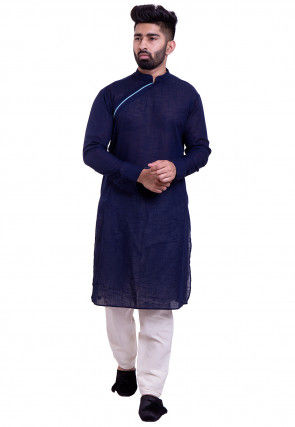 Solid Color Cotton Slub Kurta Set in Navy Blue