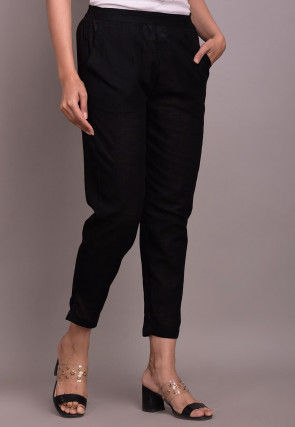 Solid Color Cotton Slub Pant in Black