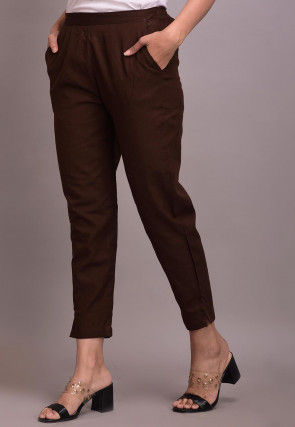 Solid Color Cotton Slub Pant in Brown