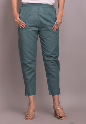 Solid Color Cotton Slub Pant in Dusty Blue