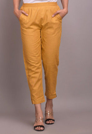 Solid Color Cotton Slub Pant in Mustard