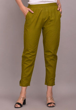 Solid Color Cotton Slub Pant in Olive Green