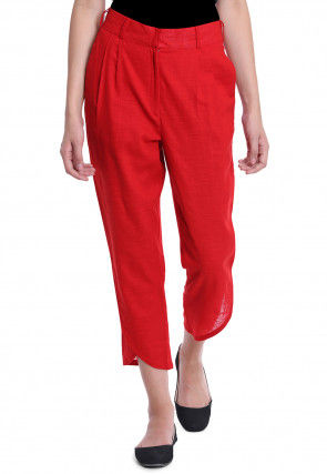 Solid Color Cotton Slub Pant in Red