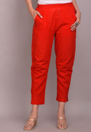 Solid Color Cotton Slub Pant in Red