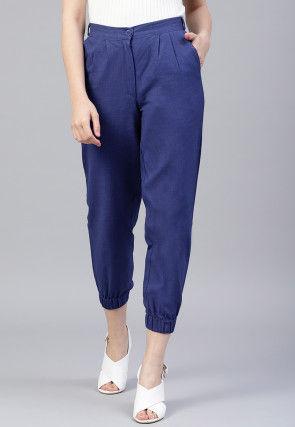 Solid Color Cotton Slub Pant in Royal Blue