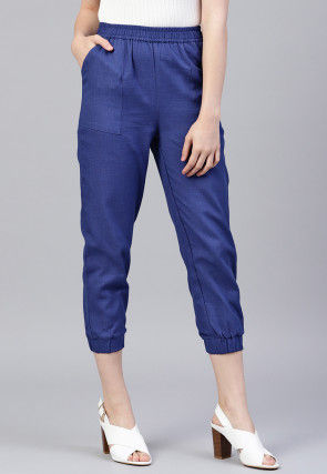 Solid Color Cotton Slub Pant in Royal Blue