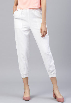 Solid Color Cotton Slub Pant in White