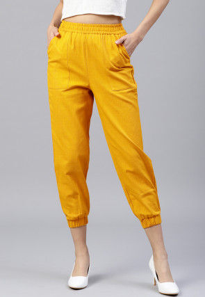 Solid Color Cotton Slub Pant in Yellow