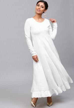 Solid Color Cotton Slub Ruffled Maxi Dress in Off White