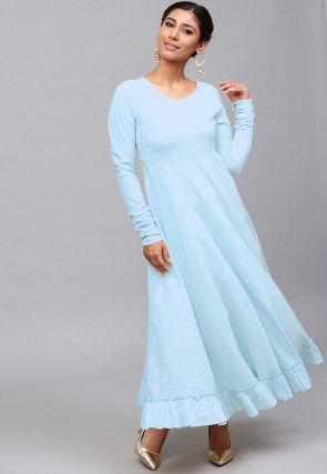 Solid Color Cotton Slub Ruffled Maxi Dress in Sky Blue
