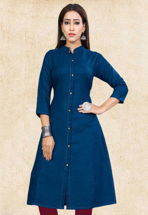 Solid Color Cotton Slub Straight Front Open Kurta in Navy Blue