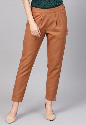 Solid Color Cotton Slub Trouser in Brown