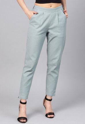 Solid Color Cotton Slub Trouser in Grey