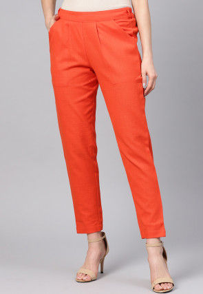Solid Color Cotton Slub Trouser in Orange