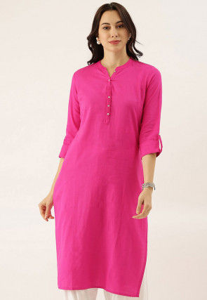 Solid Color Cotton Straight Kurta in Fuchsia