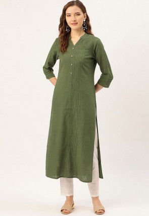 Solid Color Cotton Straight Kurta in Olive Green