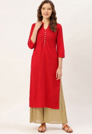 Solid Color Cotton Straight Kurta in Red