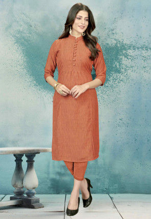 Solid Color Cotton Straight Kurta in Rust