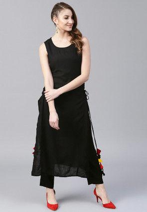 Solid Color Cotton Straight Kurta Set in Black