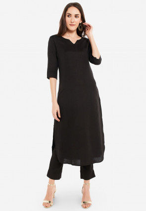 Solid Color Cotton Straight Kurta Set in Black