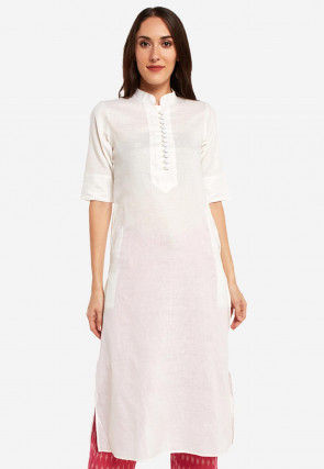 Solid Color Cotton Straight Kurta Set in Off White