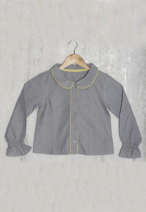 Solid Color Cotton Kids Top in Grey